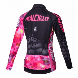 Malciklo Cycling Jersey with Bib Tights Women's Long Sleeves Bike Compression Suits Quick Dry Front Zipper -