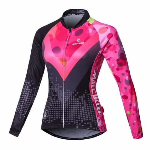 Affordable Malciklo Cycling Jersey with Bib Tights Women's Long Sleeves Bike Compression Suits Quick Dry Front Zipper