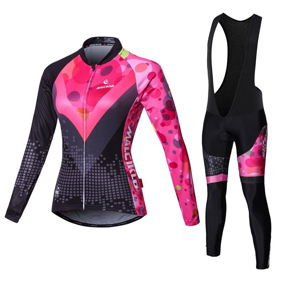 Best Malciklo Cycling Jersey with Bib Tights Women's Long Sleeves Bike Compression Suits Quick Dry Front Zipper