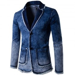 Men  Slim Fit Denim Jacket Suit -