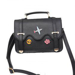 Ladies Flower Stickers Fashion Double Sided Shoulder Bag -