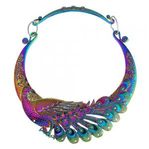 Multi Color Carving Peacock Choker Necklace for Women -