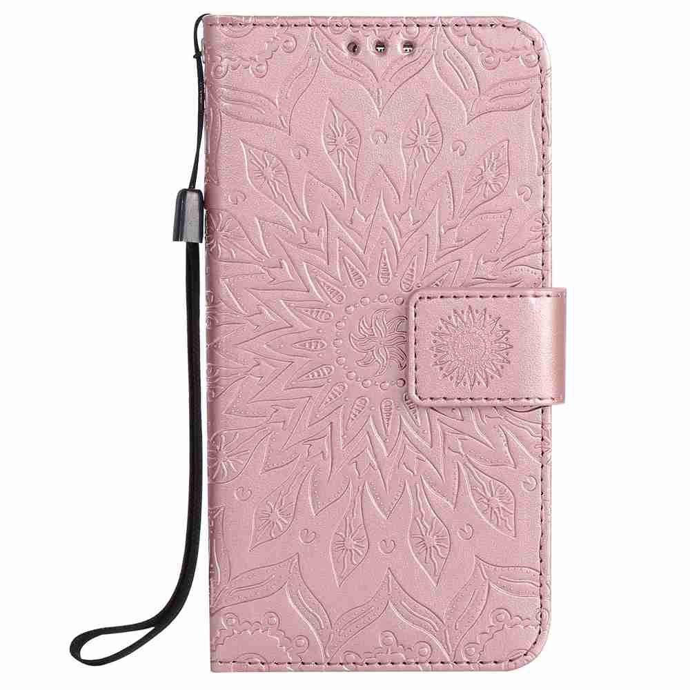 Outfit Embossed Sun Flower PU TPU Phone Case for Samsung Galaxy S7