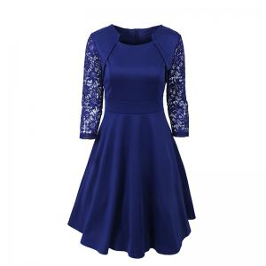 Women's Elegant Summer Lace Sleeve Tunic Pin Up Vintage Work Office Casual Party A Line Cocktail Swing Plus Size Dress -