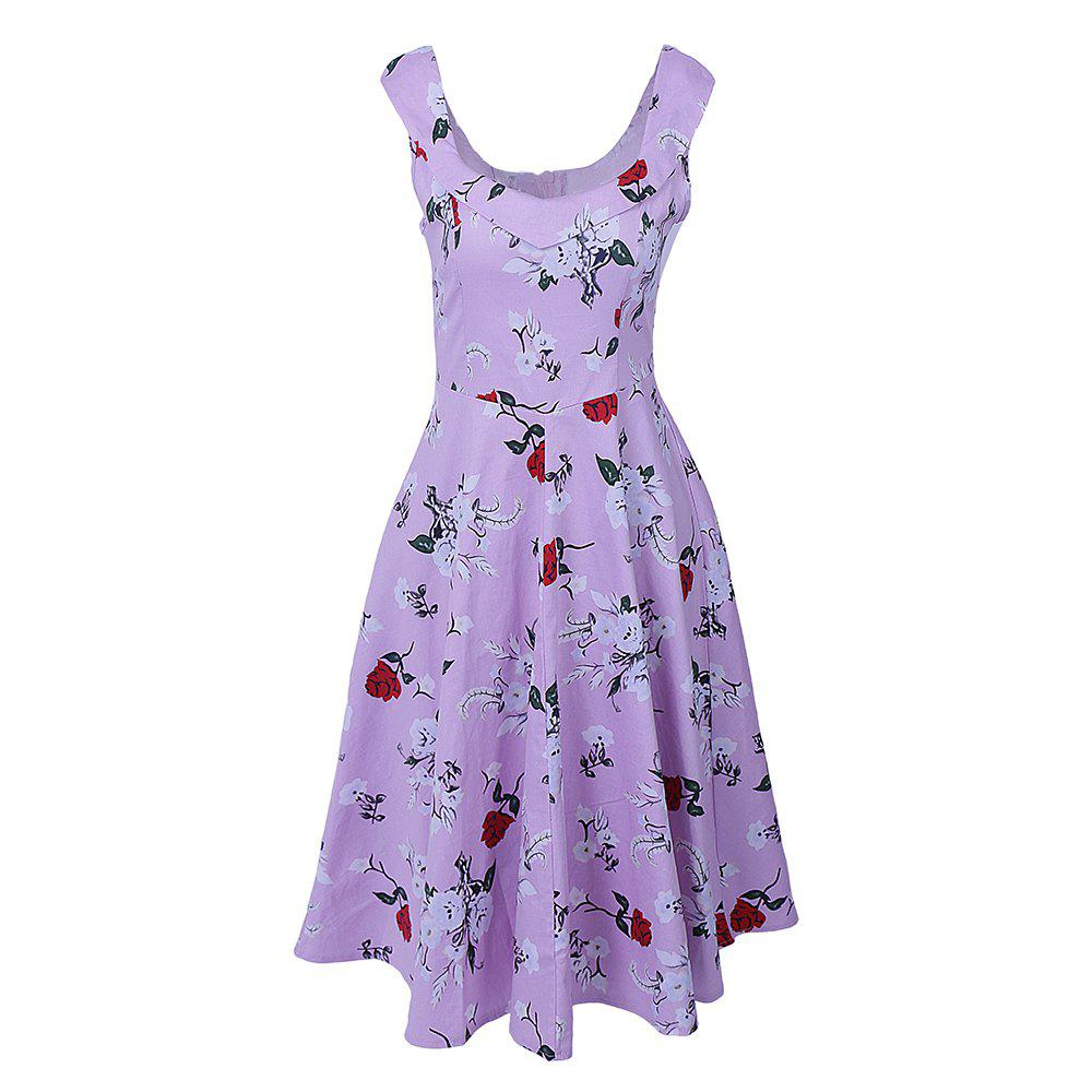 Fashion Women Rockabilly Floral Printed Party Plus Size Dress