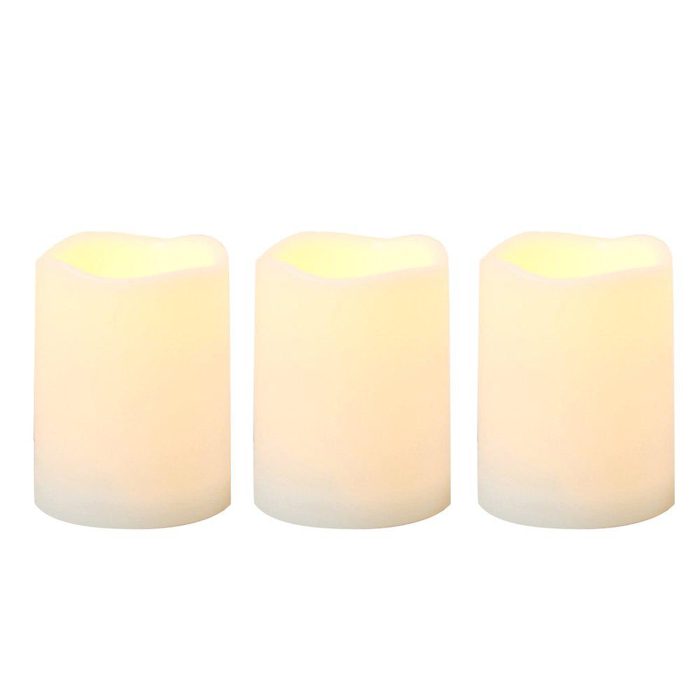Store 3 pcs  Outdoor Flameless Candle with Timer Plastic Realistic Flickering Battery Operated LED Pillar