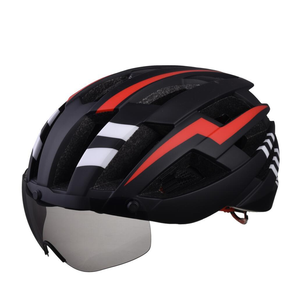 Store L-003 Bicycle Helmet Bike Cycling Adult Adjustable Unisex Safety Equipment with Visor Len