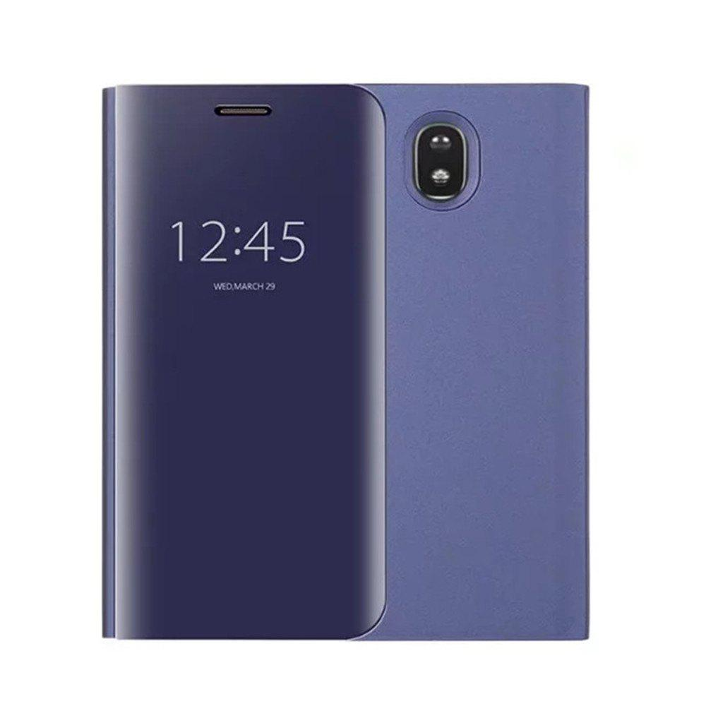 Best With Stand Plating Mirror Flip Auto Sleep Wake Up Full Body Solid Color Hard PC Case Cover for Galaxy J7 (2017) / J7 Pro