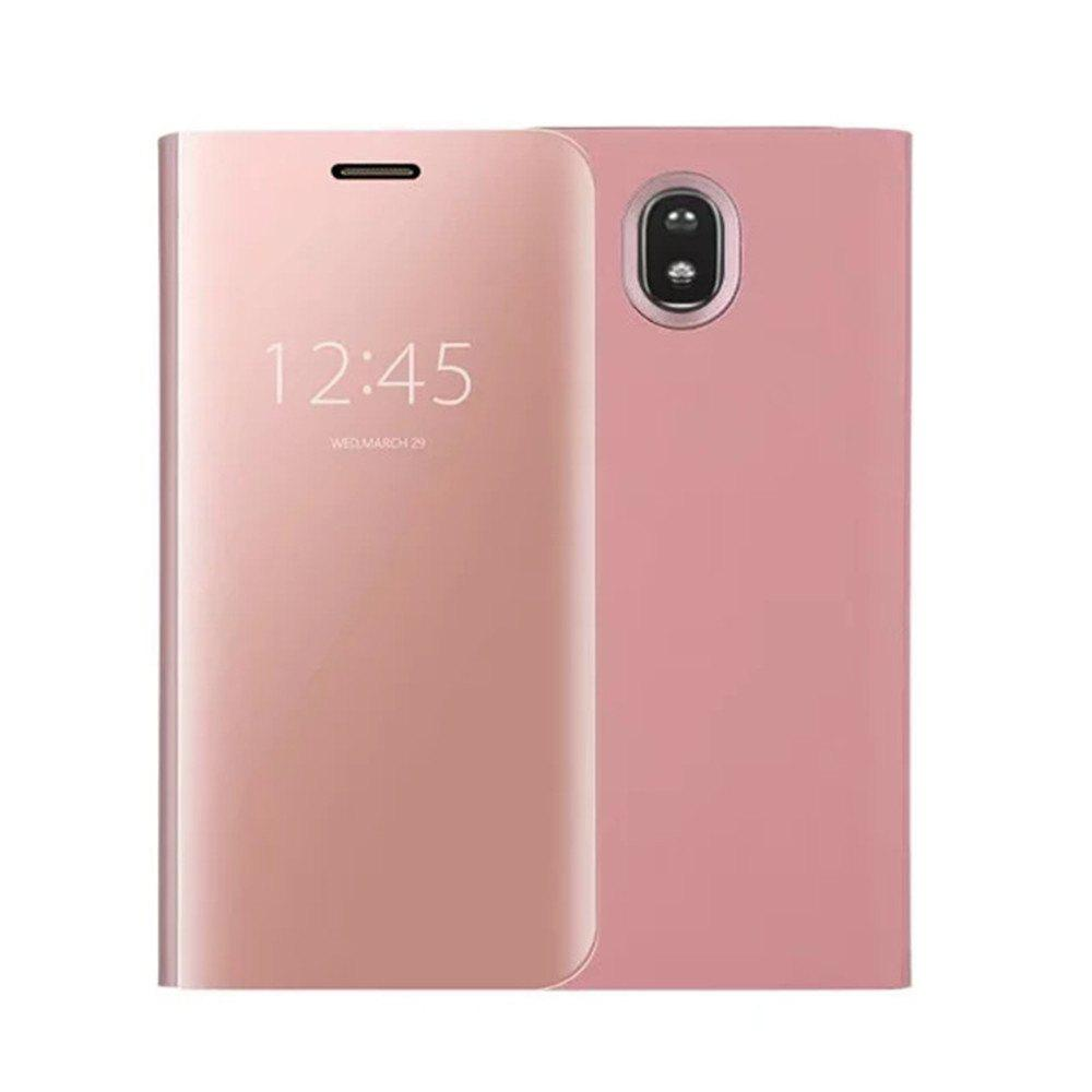 Shops With Stand Plating Mirror Flip Auto Sleep Wake Up Full Body Solid Color Hard PC Case Cover for Galaxy J3 Pro / J3 (2017)