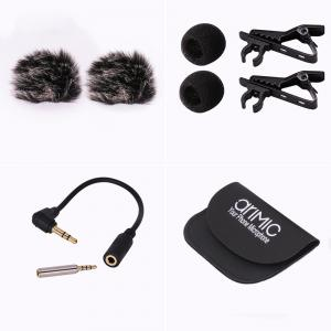 Ulanzi 1.5m/6m Dual-Head Clip on Mini Lapel Microphone Lavaliere Omnidirectional Condenser Microphone for iPhone Android Mobile Phone -