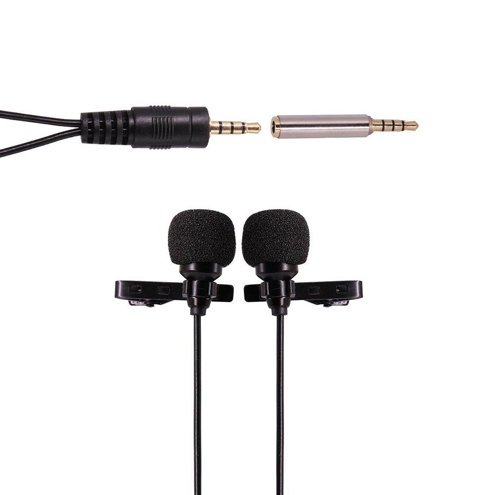 Discount Ulanzi 1.5m/6m Dual-Head Clip on Mini Lapel Microphone Lavaliere Omnidirectional Condenser Microphone for iPhone Android Mobile Phone