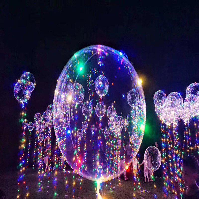 Fancy Christmas Party Balloons LED Lights Up BOBO Transparent Colorful Flash String Decorations City Wedding Home Cour