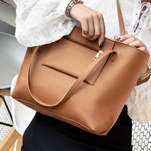 Women's Bags Set Solid Color Faddish Versatile Bag -
