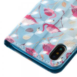 Blue Flamingos Pattern 3D PU Leather Flip Wallet Case for iPhone X -