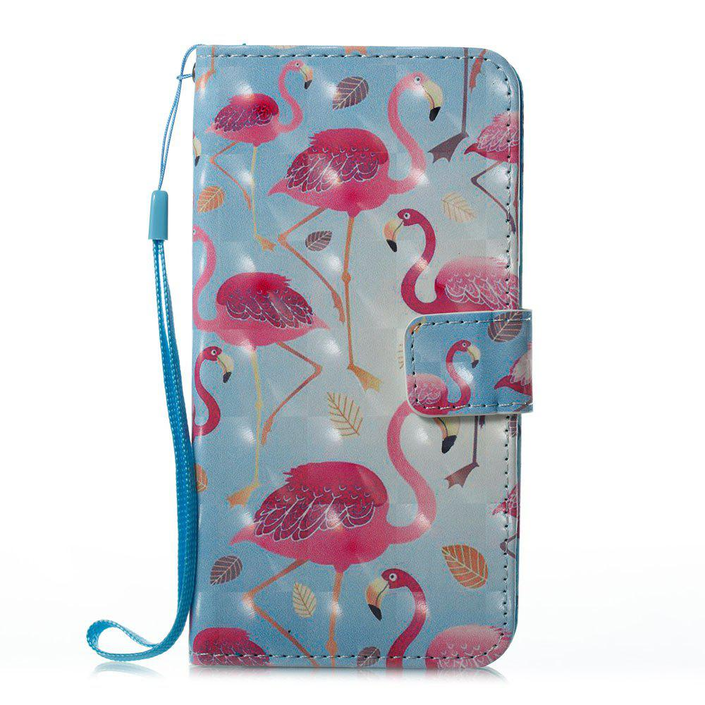 Latest Blue Flamingos Pattern 3D PU Leather Flip Wallet Case for iPhone X