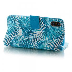 Banana Leaf Pattern 3D PU Leather Flip Wallet Case for iPhone X -