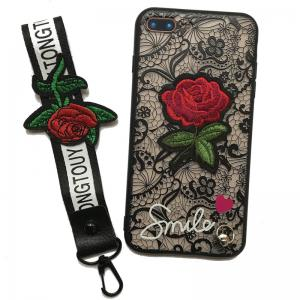 Lace Rose Flowers Full Protection Case TPU+PC Back Cover with Hang Rope for iPhone 8 Plus / 7 Plus -
