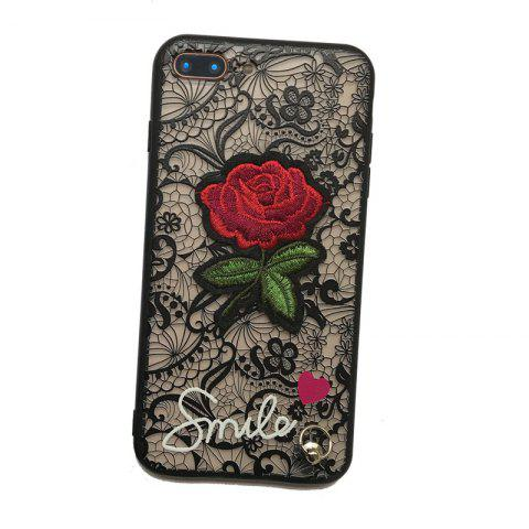 Affordable Lace Rose Flowers Full Protection Case TPU+PC Back Cover with Hang Rope for iPhone 8 Plus / 7 Plus