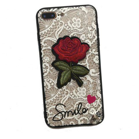 Store Lace Rose Flowers Full Protection Case TPU+PC Back Cover with Hang Rope for iPhone 8 Plus / 7 Plus