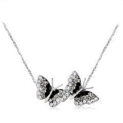 Butterflies Style Alloy + Crystal Pendant Necklace -