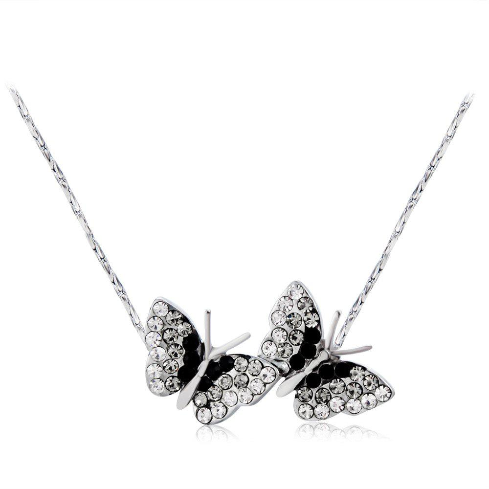 Online Butterflies Style Alloy + Crystal Pendant Necklace