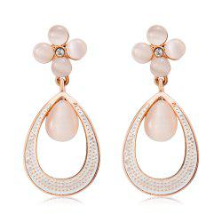 Quatrefoil and Dew Alloy + Imitation Opal Earrings - Rose Gold (Pair) -