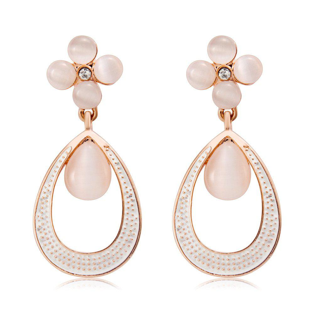 Chic Quatrefoil and Dew Alloy + Imitation Opal Earrings - Rose Gold (Pair)