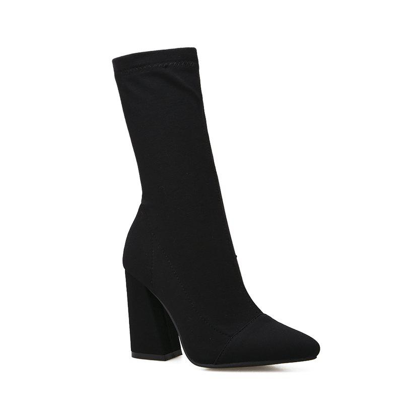 Online Pointed Naked Fleece Warm Black Zipper Ankle Boots