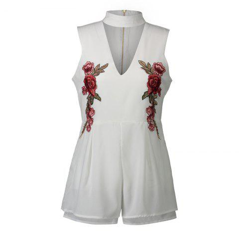 Latest 2017 New Style Rose Embroidery Sexy V-Neck Jumpsuits