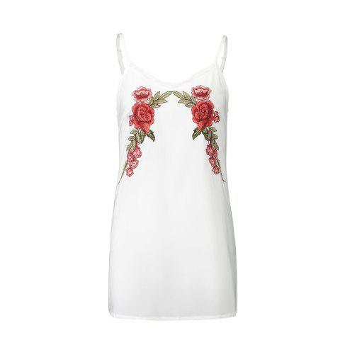 Sale New 2017 Euramerican Embroidered Flowers Bud Silk  Sexy Strap Dress