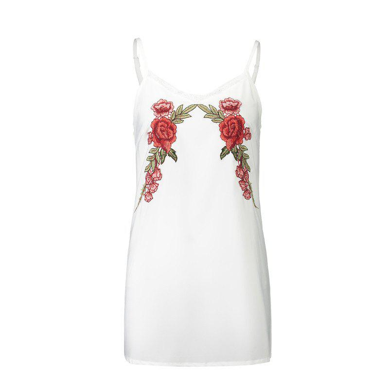 Shop New 2017 Euramerican Embroidered Flowers Bud Silk  Sexy Strap Dress