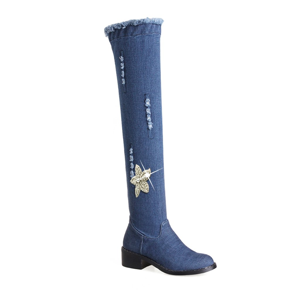 Fashion Fashion Low with The flat Round Denim Boots Knee Flowers