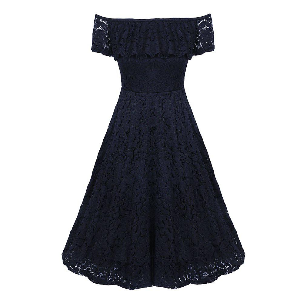 64bd3cb1940 Online New Style Summer Off Shoulder Floral Lace Party Swing Women  Cascading Ruffle Lace Casual Formal