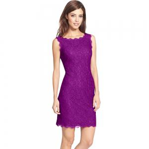 New Style Summer Fashion Elegant Women Embroidery Sexy Lace  Sleeveless Casual Evening Party  Dress -