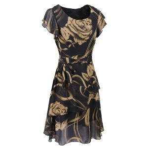 New Style Summer Fashion Casual Floral Print Women Round Neck Hollow Out Printed Bowknot Chiffon  Dress -