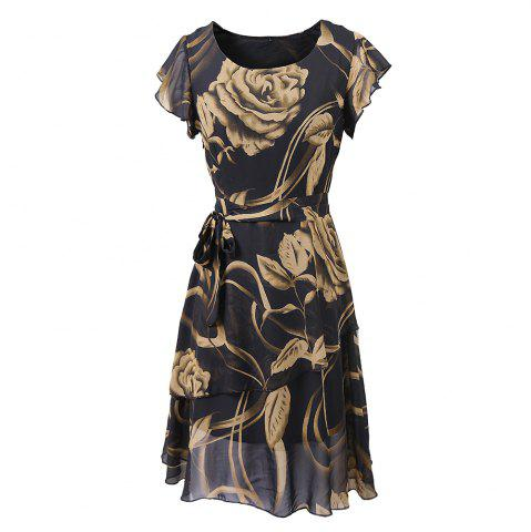 Cheap New Style Summer Fashion Casual Floral Print Women Round Neck Hollow Out Printed Bowknot Chiffon  Dress