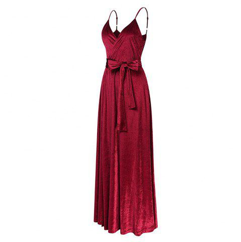 Discount New Velvet Long Evening Party  Women Wrap Spaghetti Strap Sexy Ladies Backless Maxi Elegant Dress