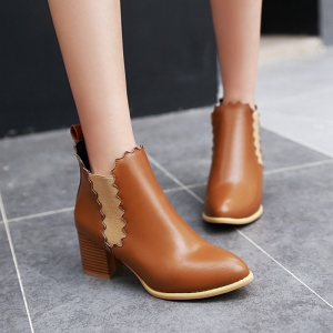 Women's Shoes Leatherette Winter Pointed Toe Concise Ankle Boots Ribbon Tie -