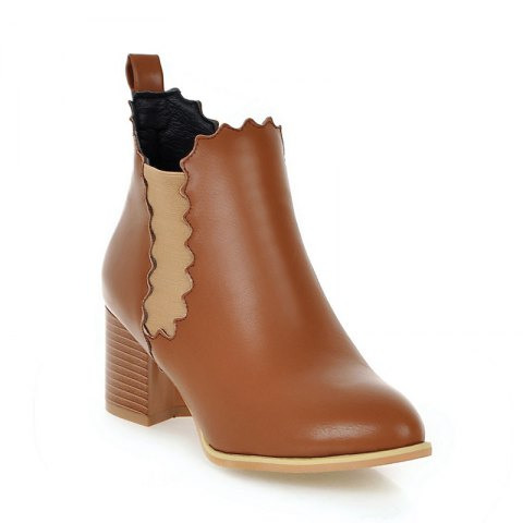 Unique Women's Shoes Leatherette Winter Pointed Toe Concise Ankle Boots Ribbon Tie