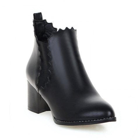 Latest Women's Shoes Leatherette Winter Pointed Toe Concise Ankle Boots Ribbon Tie