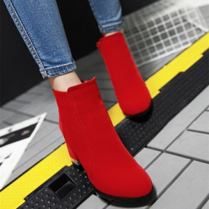 Women Shoes Zip Chunky Heel Fashion Dress Ankle Boots -