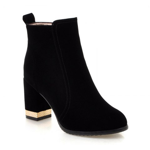 Discount Women Shoes Zip Chunky Heel Fashion Dress Ankle Boots