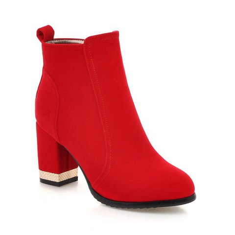 Fashion Women Shoes Zip Chunky Heel Fashion Dress Ankle Boots