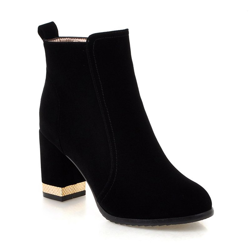 Fancy Women Shoes Zip Chunky Heel Fashion Dress Ankle Boots