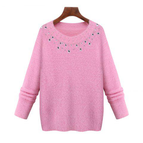 Latest Europe and The United States New Imitation Mink Winter Sweater Long Sleeved Knit Shirt