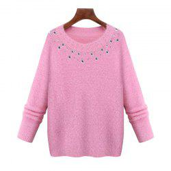 Europe and The United States New Imitation Mink Winter Sweater Long Sleeved Knit Shirt -