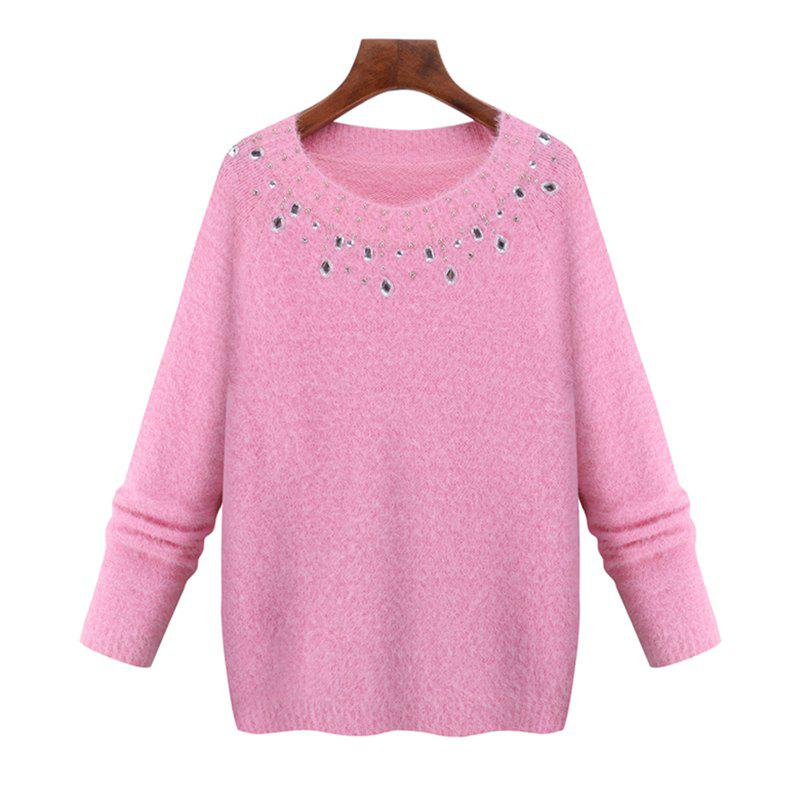New Europe and The United States New Imitation Mink Winter Sweater Long Sleeved Knit Shirt
