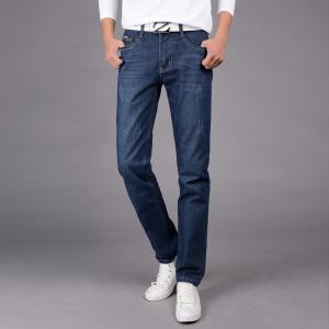 Men's Jeans Straight Mid Waisted Solid Color Denim Pants -