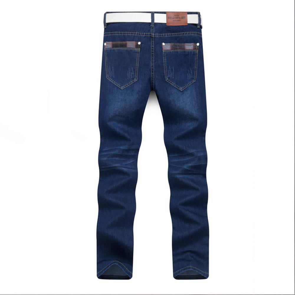 Fancy Men's Jeans Straight Mid Waisted Solid Color Denim Pants