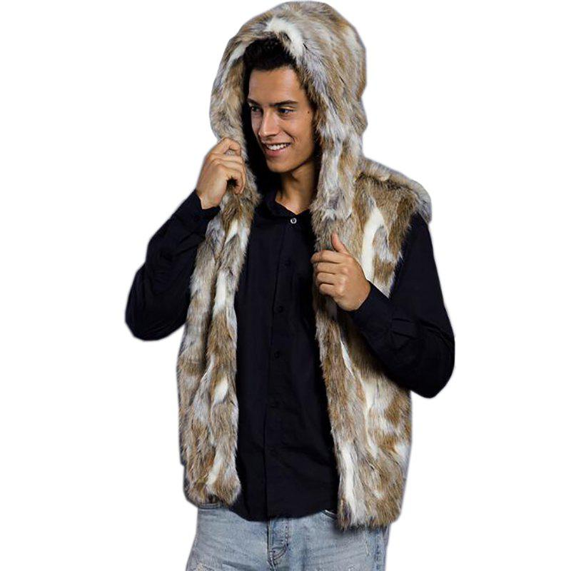 Sale Men Vest Hooded Sleeveless Faux Fur Jacket